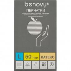 Перчатки латексные нестерильные гладкие опудренные BENOVY 50 шт./уп.