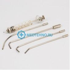Шприц для внутригортанных вливаний и промывания миндалин *