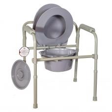 Кресло-туалет стальное с пластиковой спинкой, складной AMCB6806